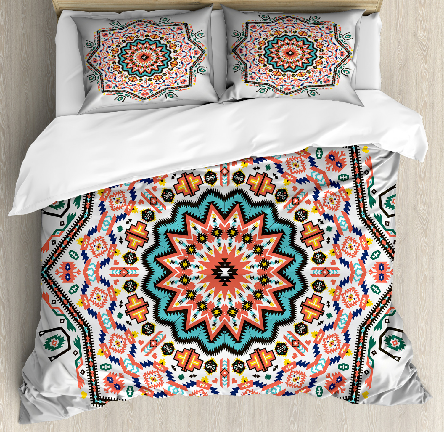 Tribal Duvet Cover Set with Pillow Shams Abstract Sun Aztec Style Print