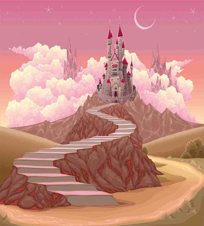 Fairytale-Duvet-Cover-Set-with-Pillow-Shams-Hill-Sunset-Castle-Print thumbnail 3