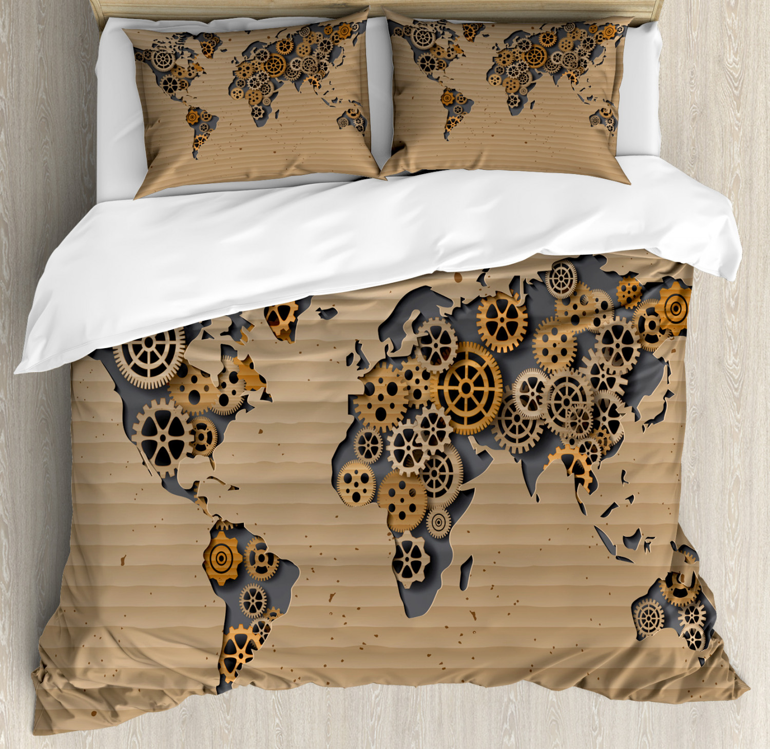 Details about Modern Duvet Cover Set with Pillow Shams Old Hipster World  Map Print