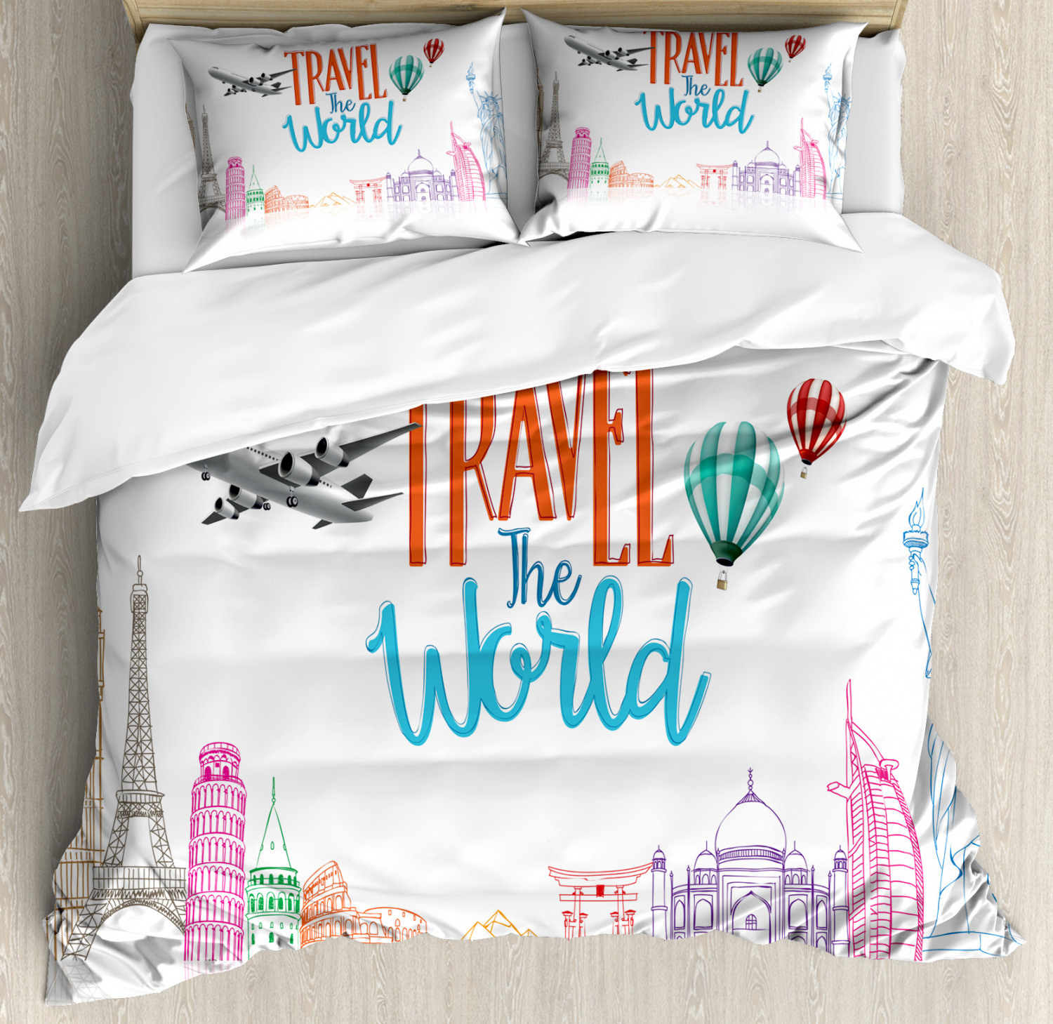 Quote Duvet Cover Set with Pillow Shams Travel World Letteri