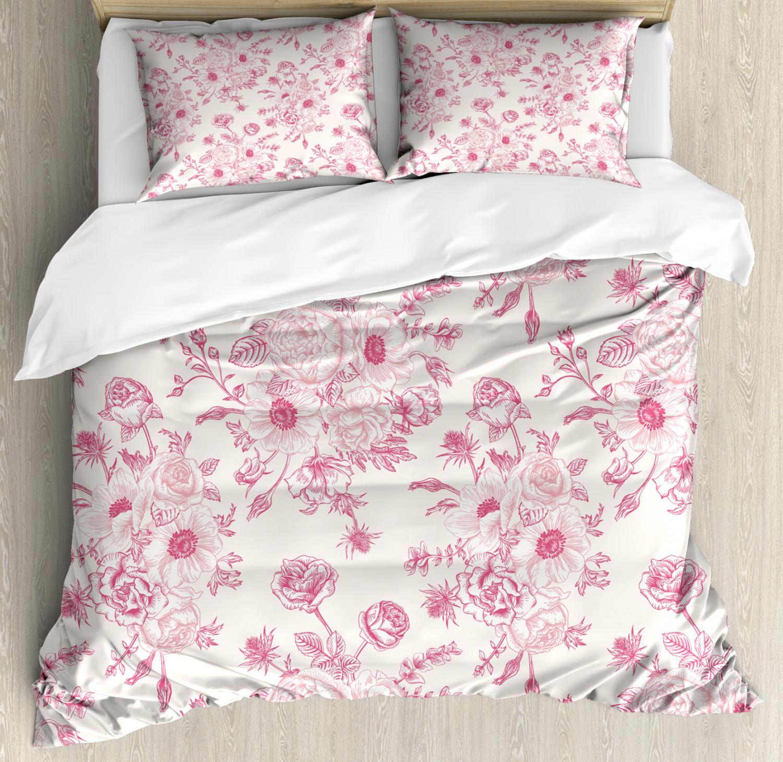 Floral-Duvet-Cover-Set-with-Pillow-Shams-Romantic-Rose-Flowers-Print