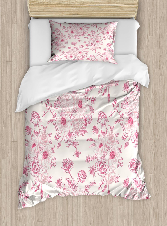 Floral-Duvet-Cover-Set-with-Pillow-Shams-Romantic-Rose-Flowers-Print thumbnail 6