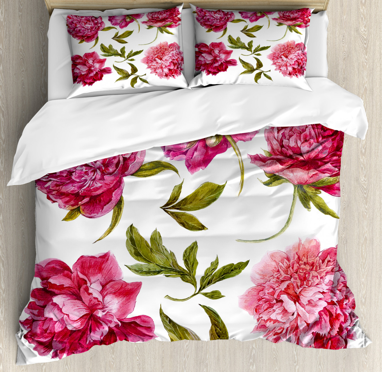 Floral Duvet Cover Set with Pillow Shams Spring Buds Vivid Tones Print