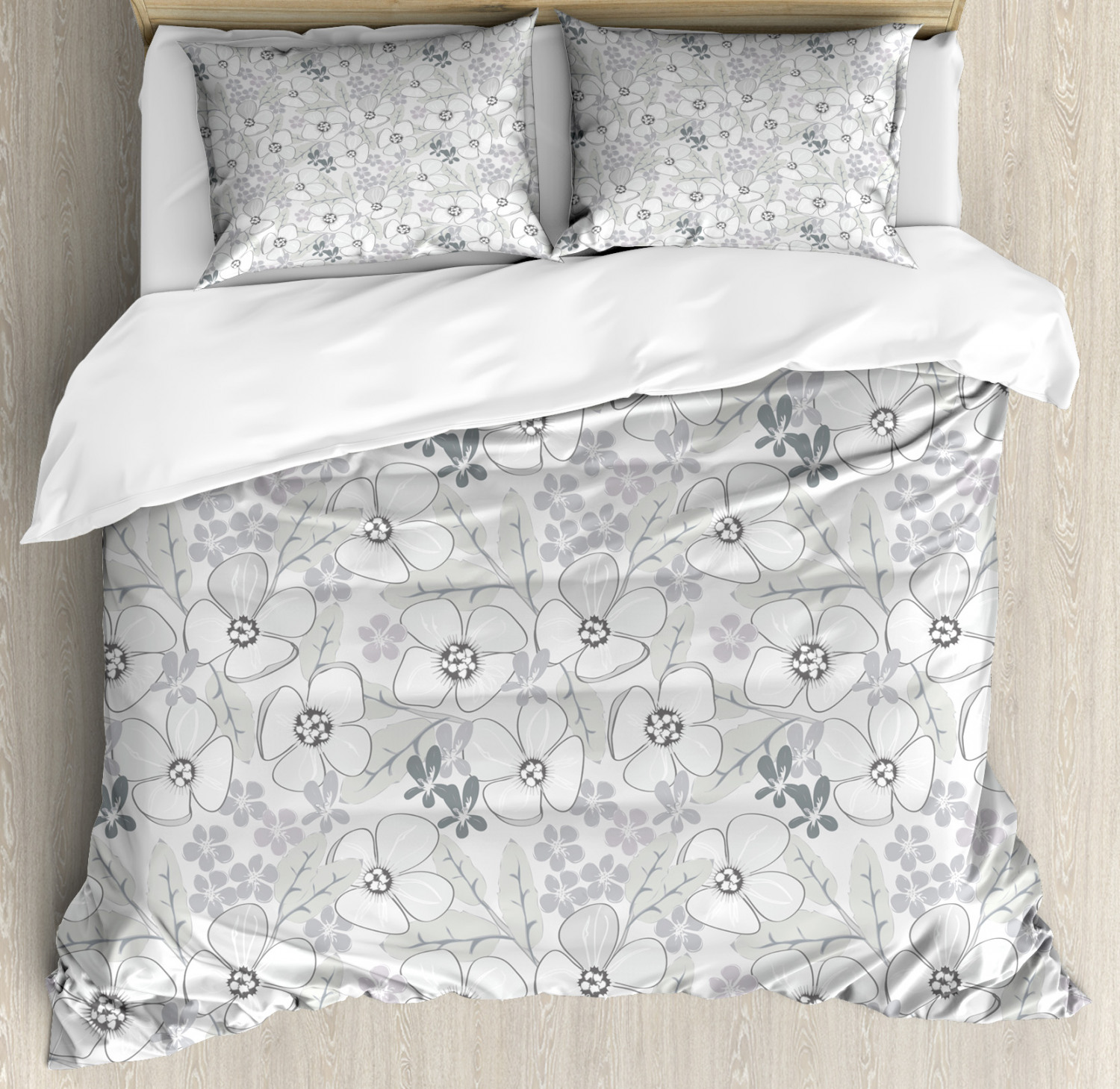 Grey Duvet Cover Set with Pillow Shams Abstract Sketchy Flowers Print