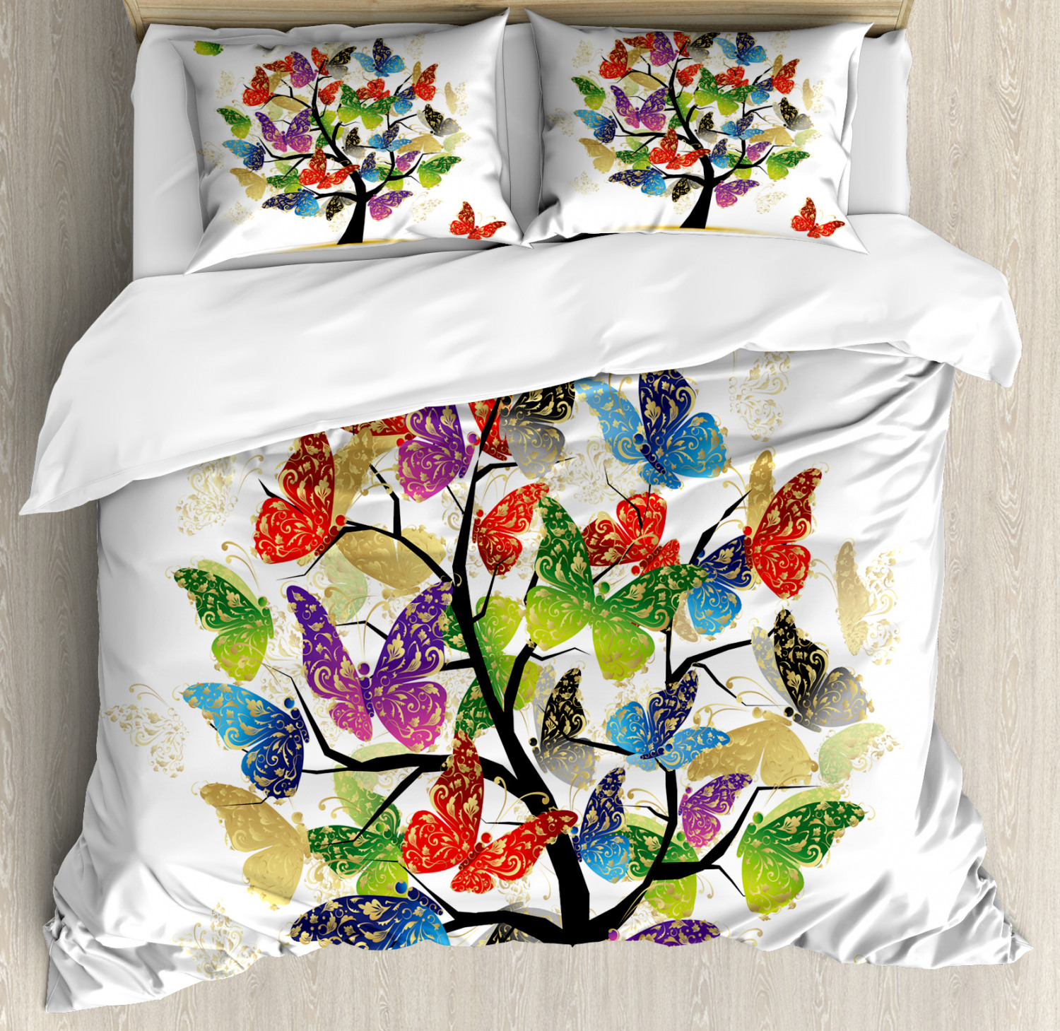 colorful Duvet Cover Set with Pillow Shams Floral Butterfly Leaf Print