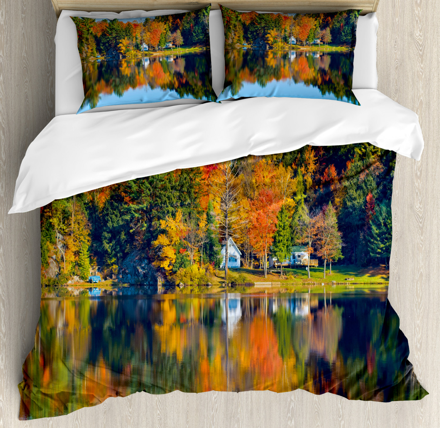 Landscape King Size Duvet Cover Set Lake House in Autumn with 2 Pillow Shams
