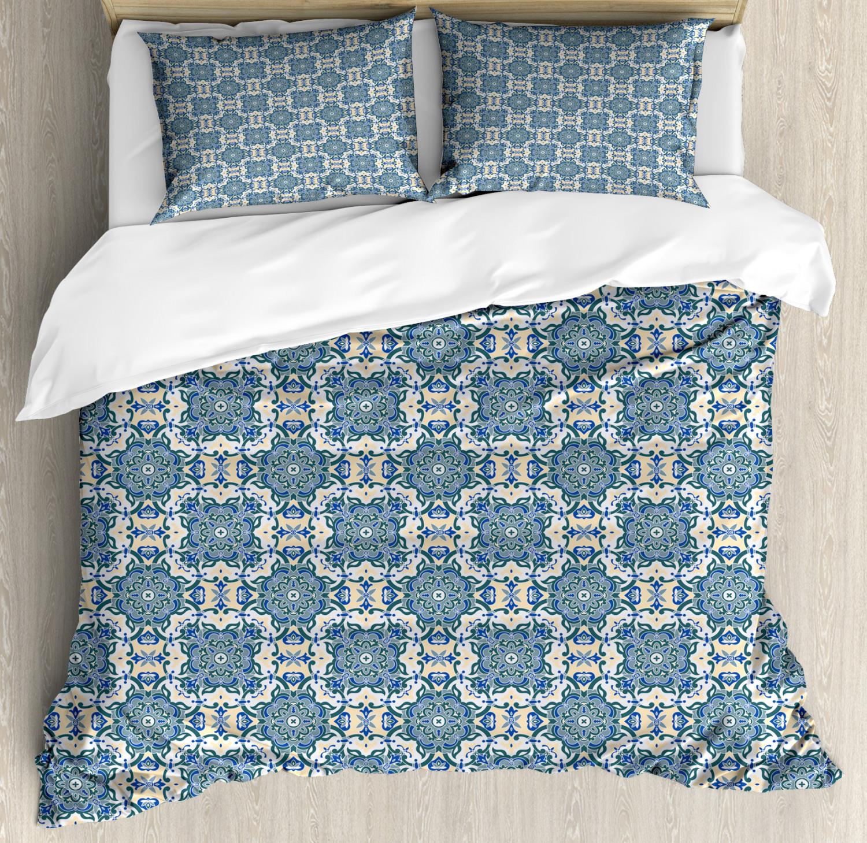 Mandala Duvet Cover Set with Pillow Shams Repeating Ethnic Form Print