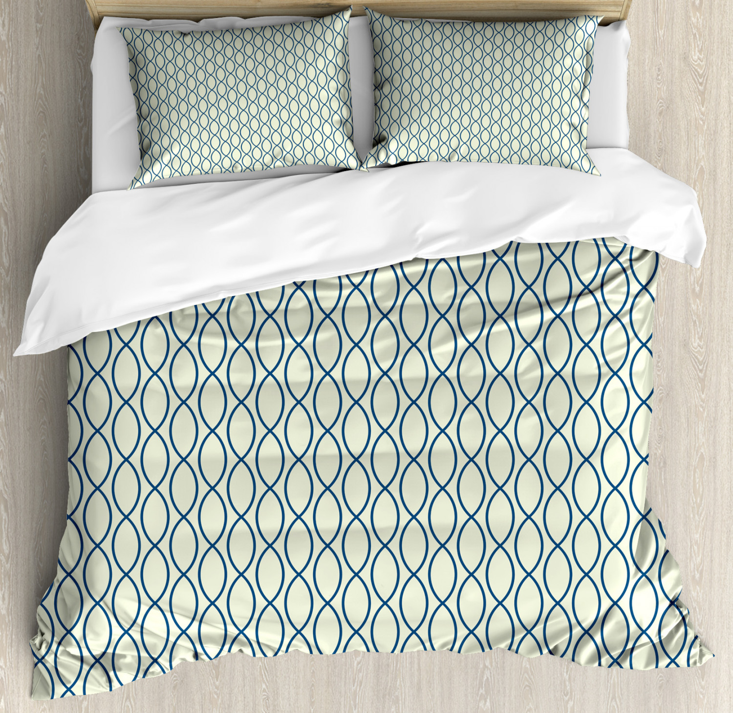 Abstract Queen Size Duvet Cover Set Fishing Net Lattice with 2 Pillow Shams