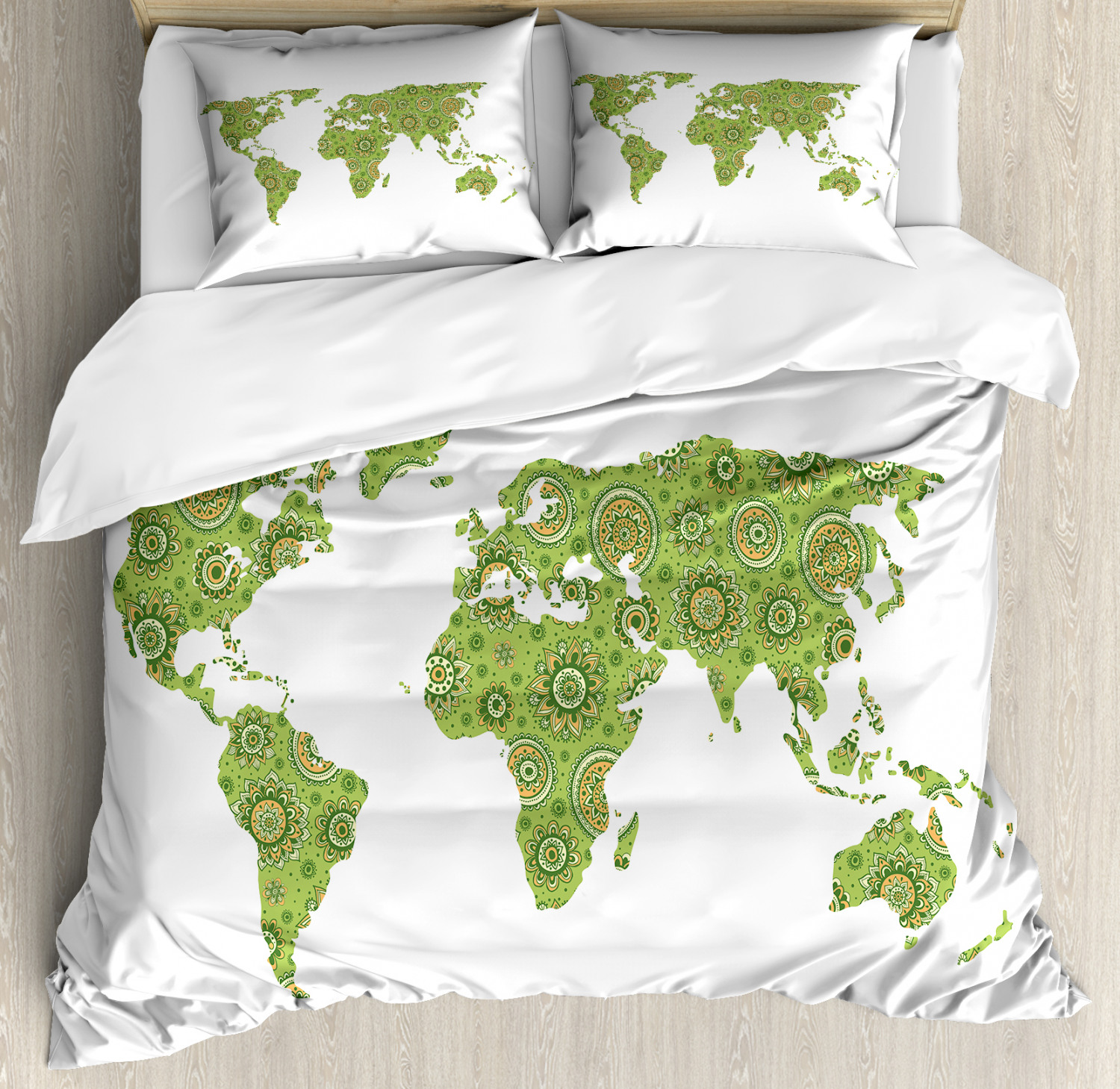 Details about World Map Duvet Cover Set with Pillow Shams Ethnic Chart Print