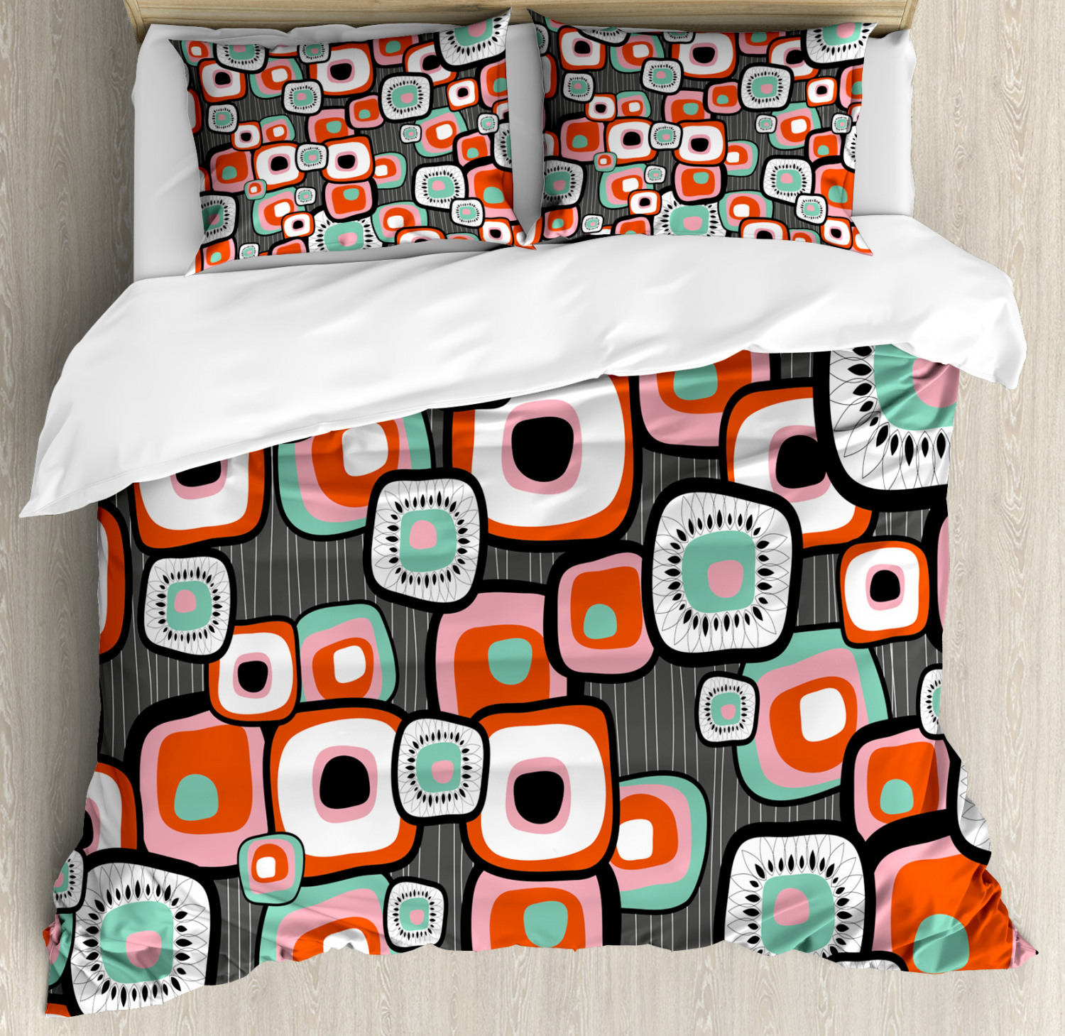 Vintage Duvet Cover Set with Pillow Shams Funk Lava Flowers Forms Print