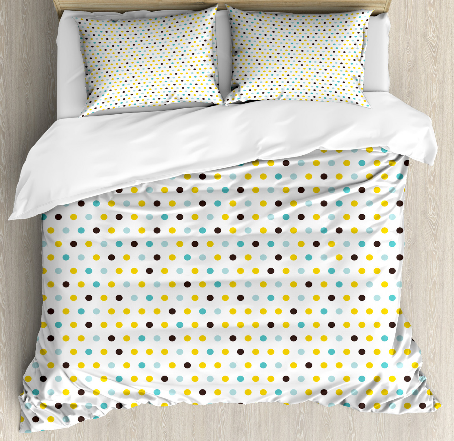 Retro Duvet Cover Set with Pillow Shams Polka Dots Rounds Retro Print