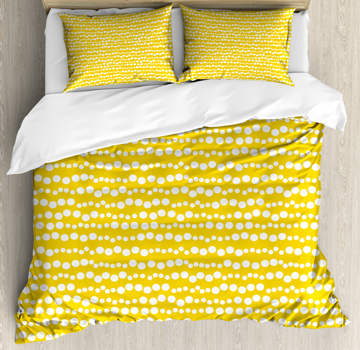 Yellow and White Duvet Cover Set with Pillow Shams Doodle Circles Print