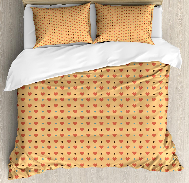 Romantic Duvet Cover Set with Pillow Shams Hearts Retro Polka Dots Print
