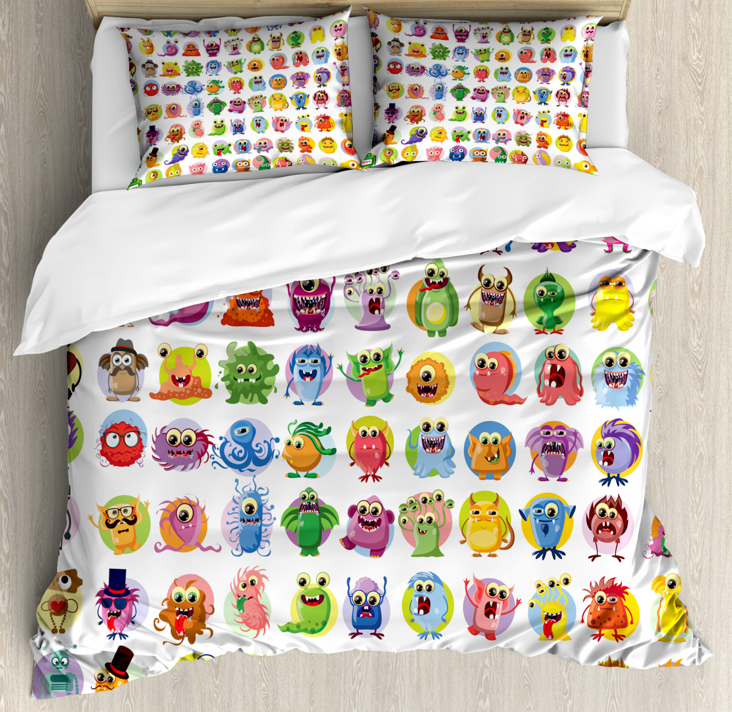 Animation Duvet Cover Set with Pillow Shams Baby Mosters Cartoon Print