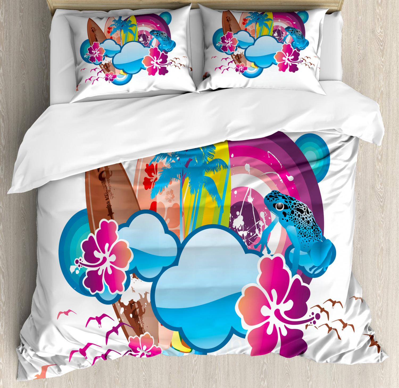 Summer Duvet Cover Set with Pillow Shams Season Hot Beach Vbes Print