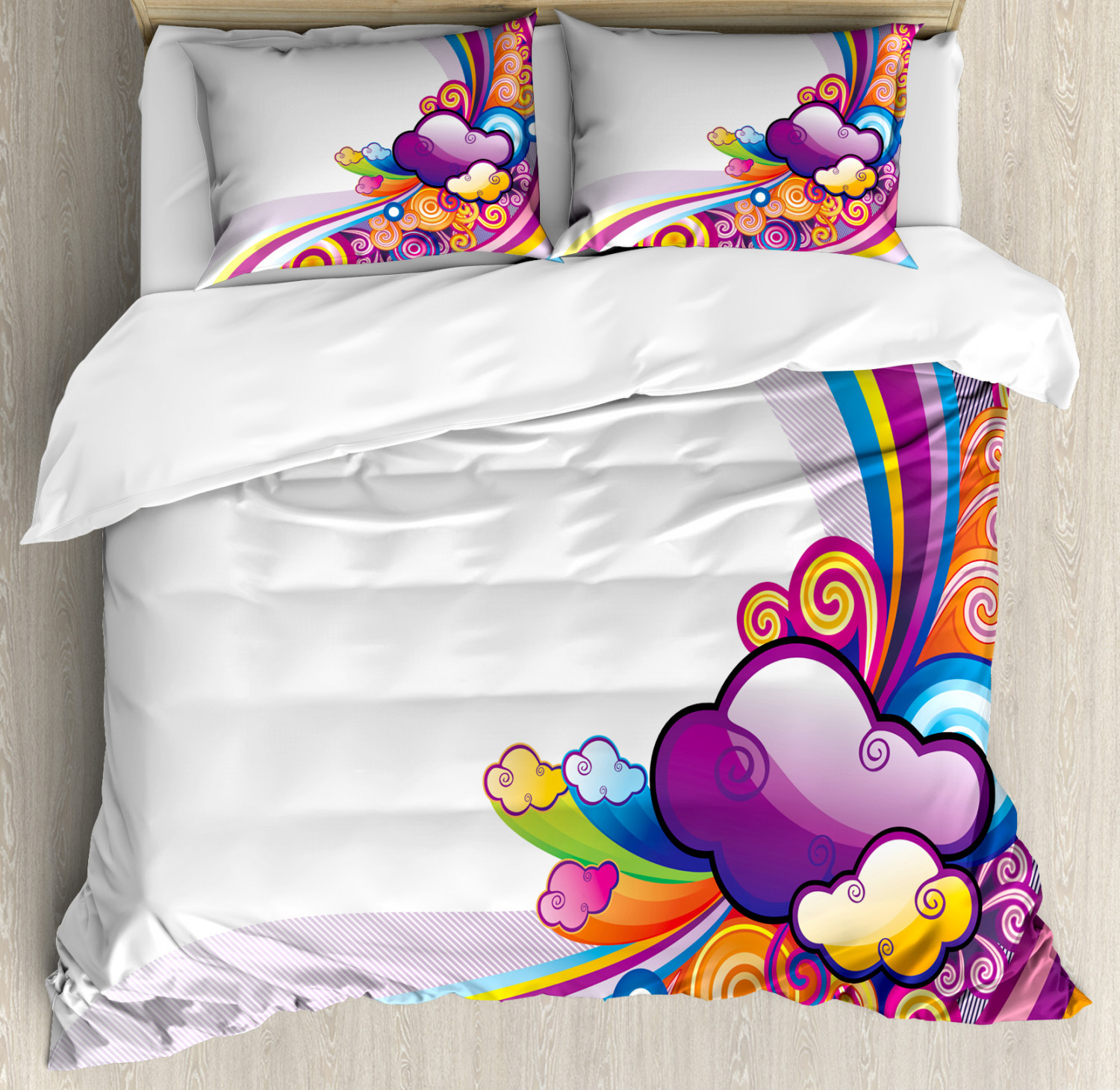 Cartoon Duvet Cover Set with Pillow Shams Rainbow colord Clouds Print