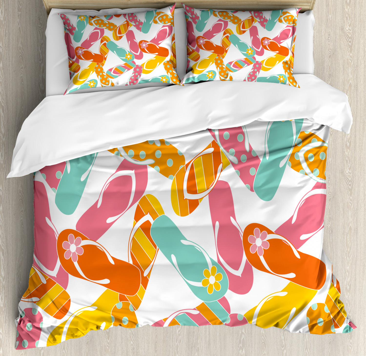 colorful Duvet Cover Set with Pillow Shams Summer Holiday Sandals Print