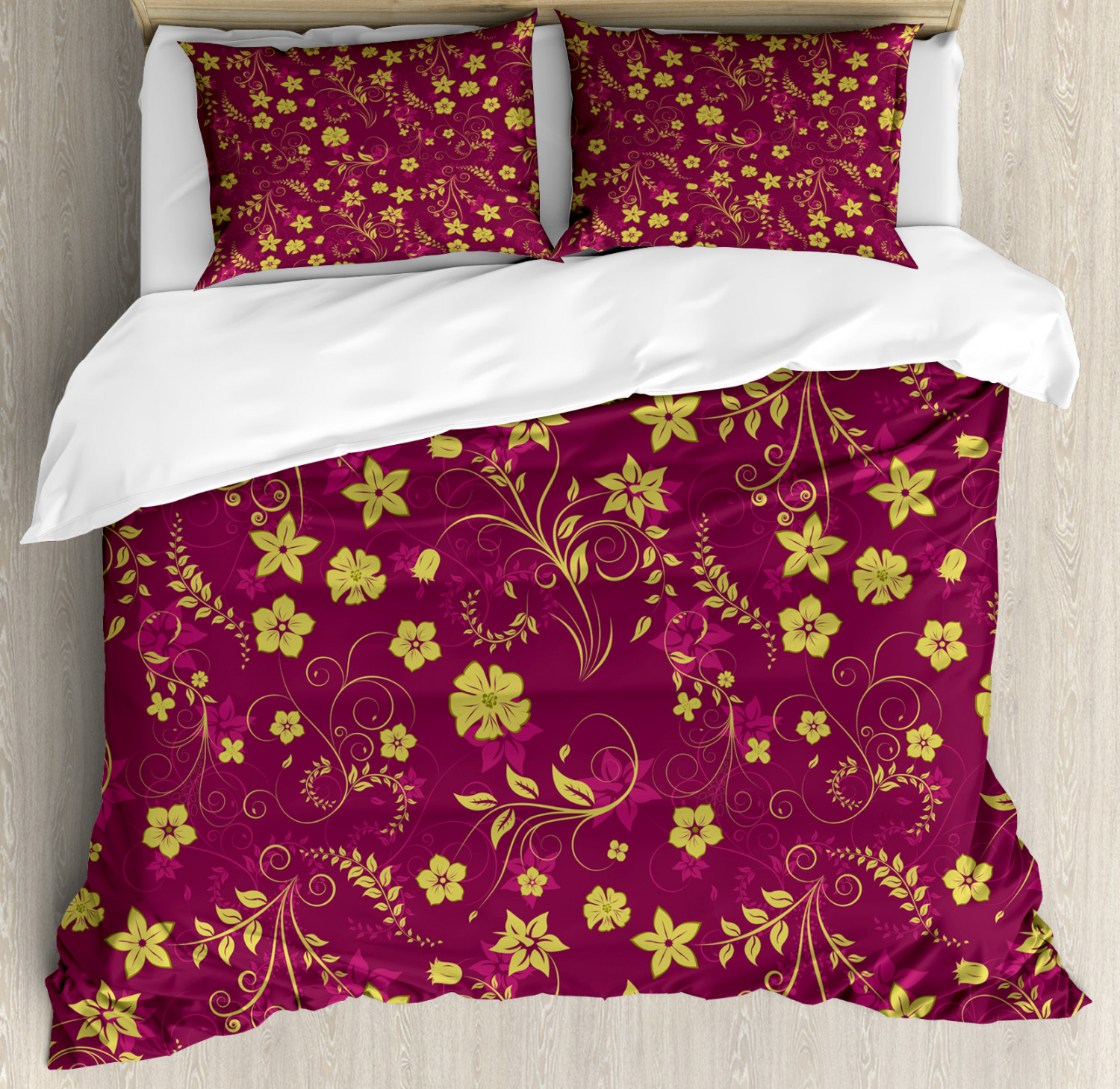 Floral Duvet Cover Set with Pillow Shams Spring Flowers Pattern Print