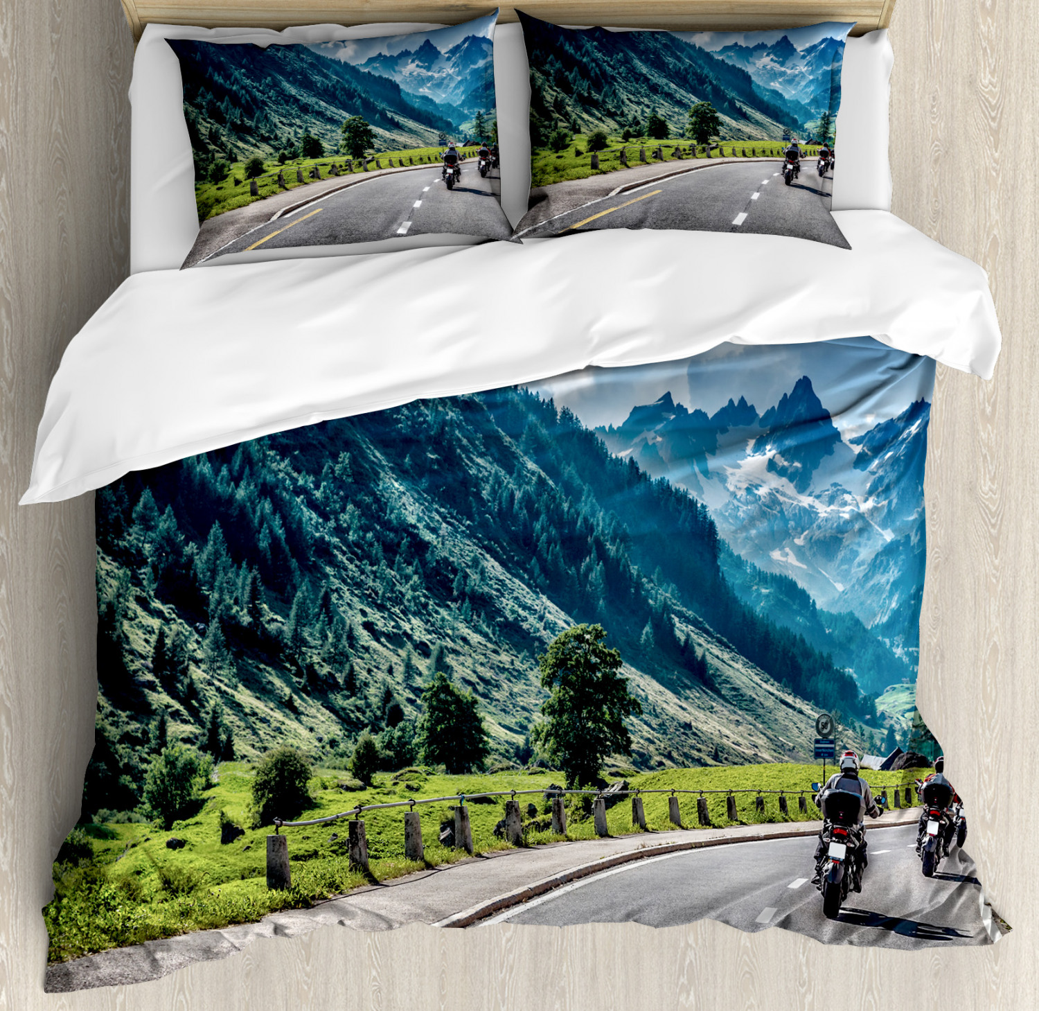 Landscape Duvet Cover Set with Pillow Shams Motorcyclist on Road Print