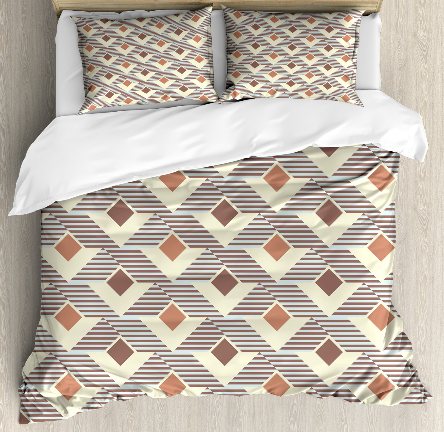 Geometric Duvet Cover Set with Pillow Shams Squares and Stripes Print