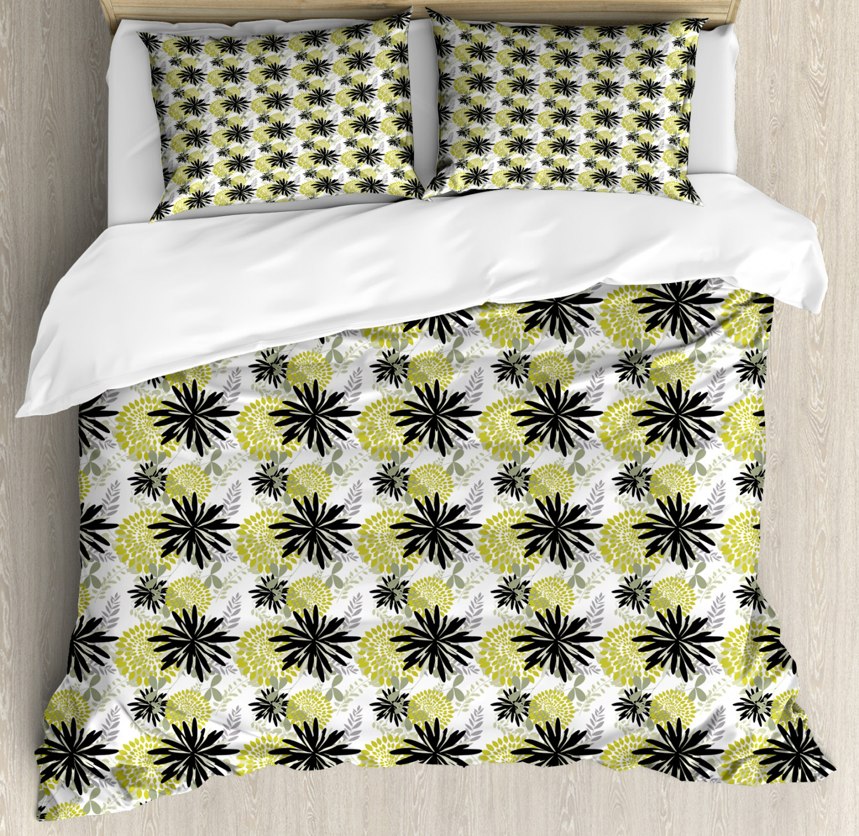 Modern Duvet Cover Set with Pillow Shams Flourishing Flowers Art Print