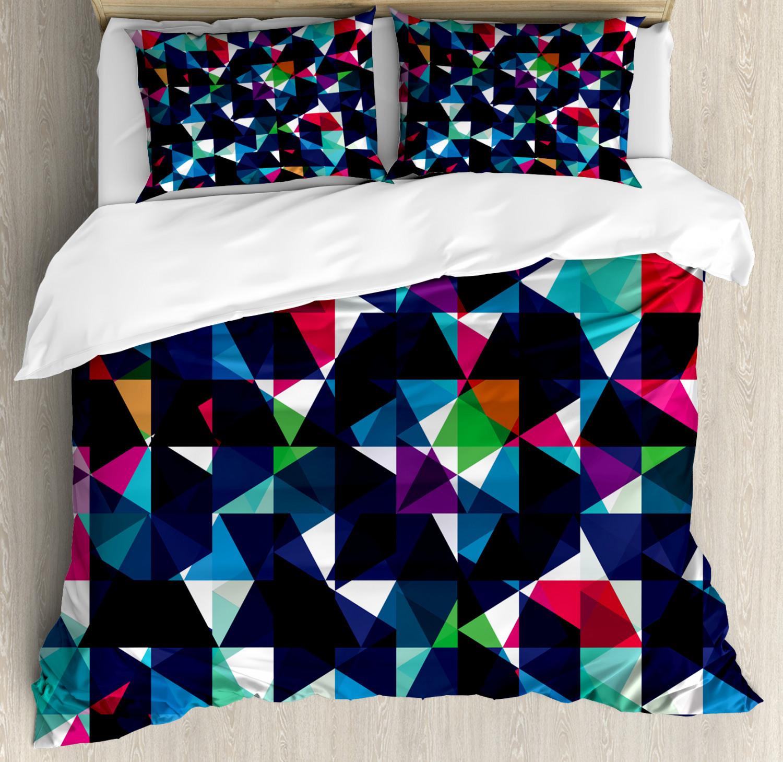 Geometric Duvet Cover Set with Pillow Shams Retro colorful Mosaic Print