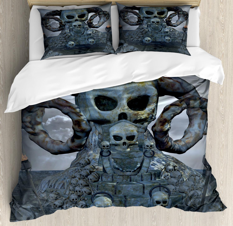 Skull Duvet Cover Set with Pillow Shams Scary Throne Horns Graves Print