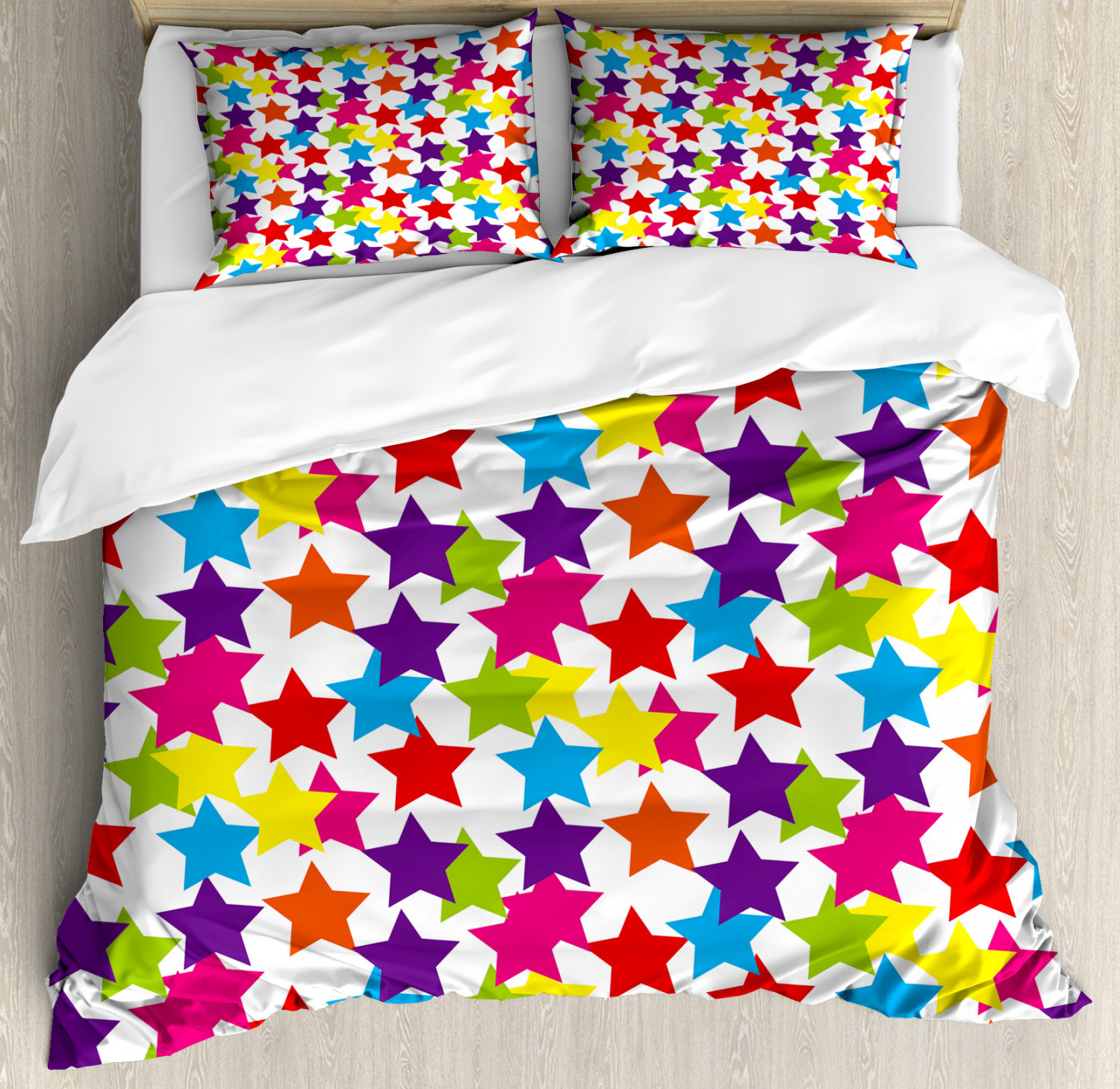 Rainbow Duvet Cover Set with Pillow Shams Funky Stars Kids Room Print