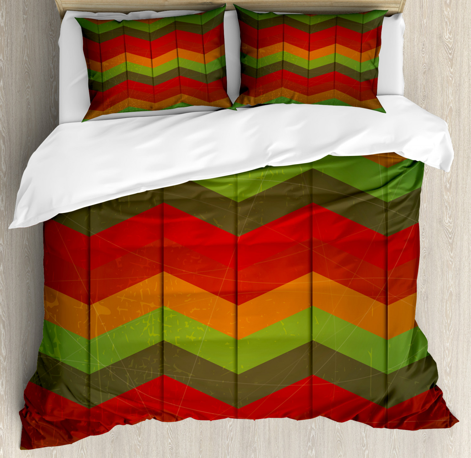 African Duvet Cover Set with Pillow Shams Abstract Zigzag Striped Print