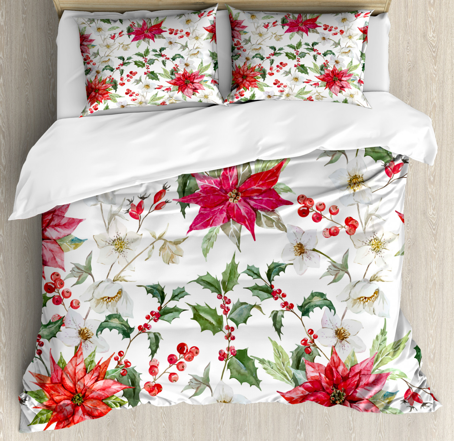 Floral Duvet Cover Set with Pillow Shams Christmas Flowers Buds Print