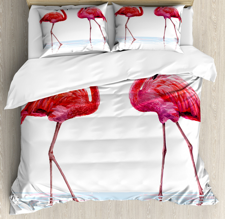 Animal Duvet Cover Set with Pillow Shams Exotic Flamingos on Sea Print