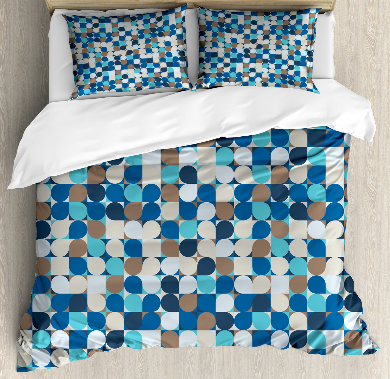 Abstract Duvet Cover Set with Pillow Shams Pastel Mosaic Pattern Print