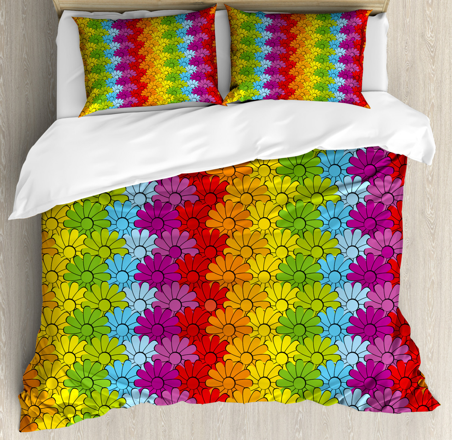 Floral Duvet Cover Set with Pillow Shams Rainbow Coloreeosso Flowers Print