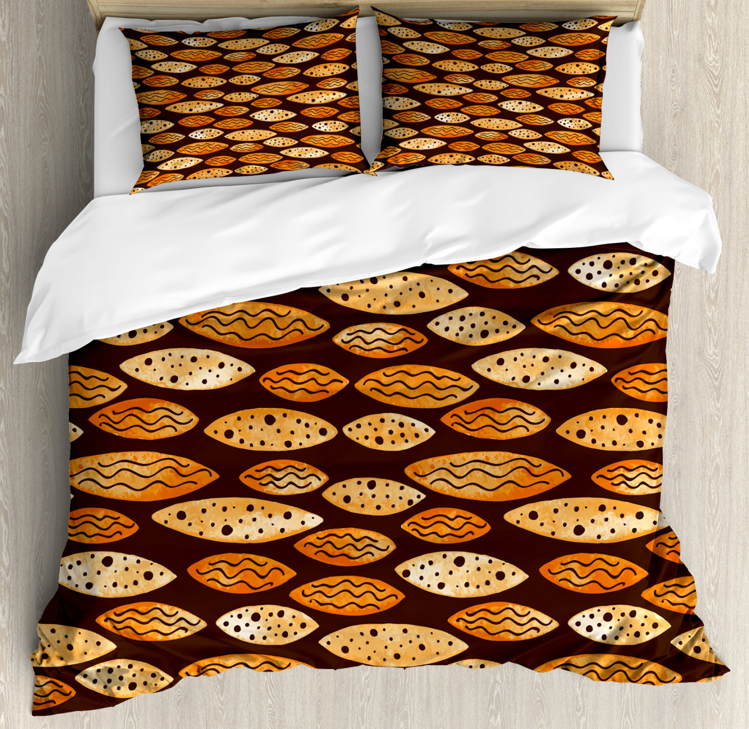 Abstract Duvet Cover Set with Pillow Shams Spots Waves Elliptic Print