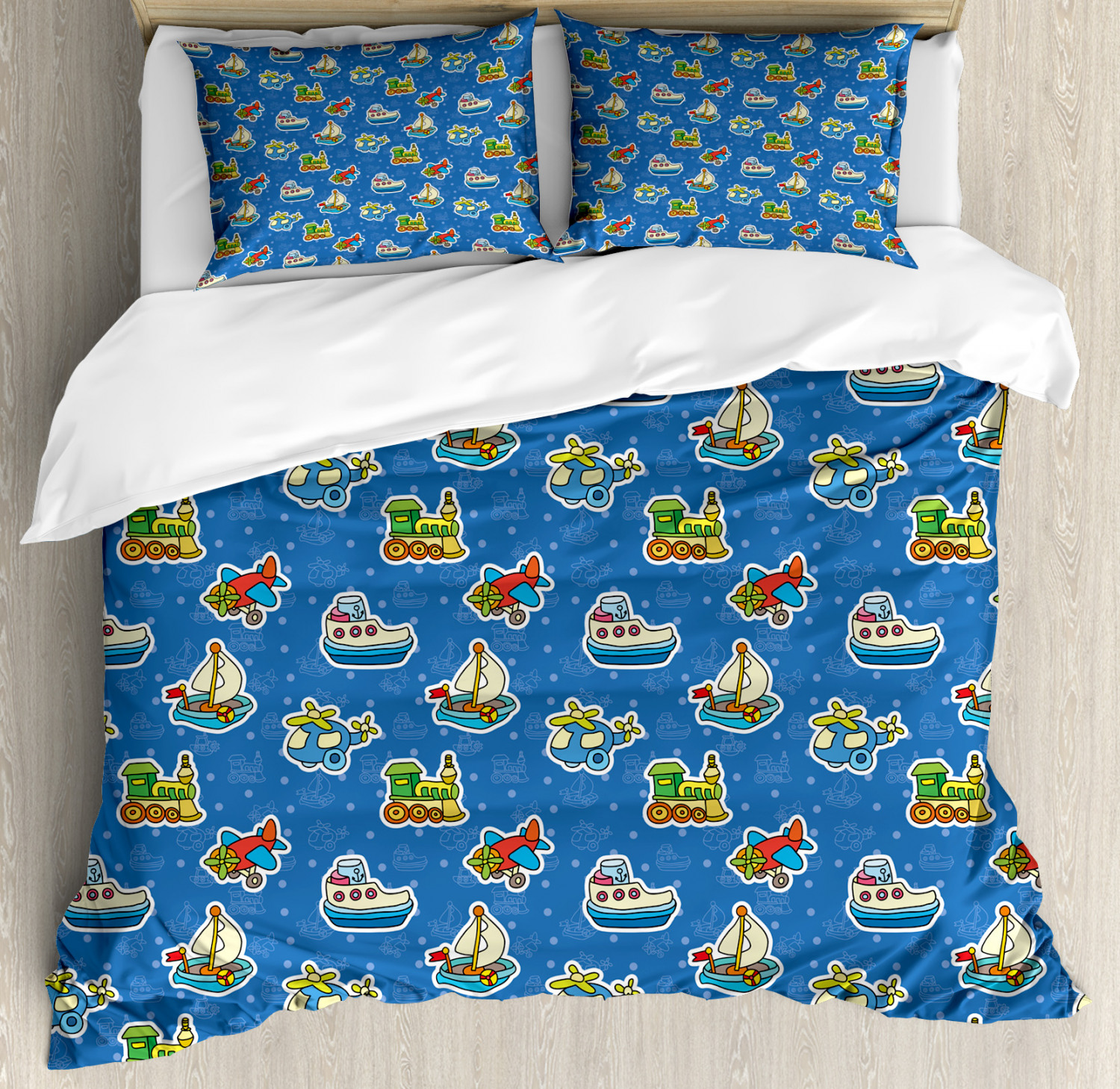 Kids Duvet Cover Set with Pillow Shams Cute Toys Pattern Artwork Print