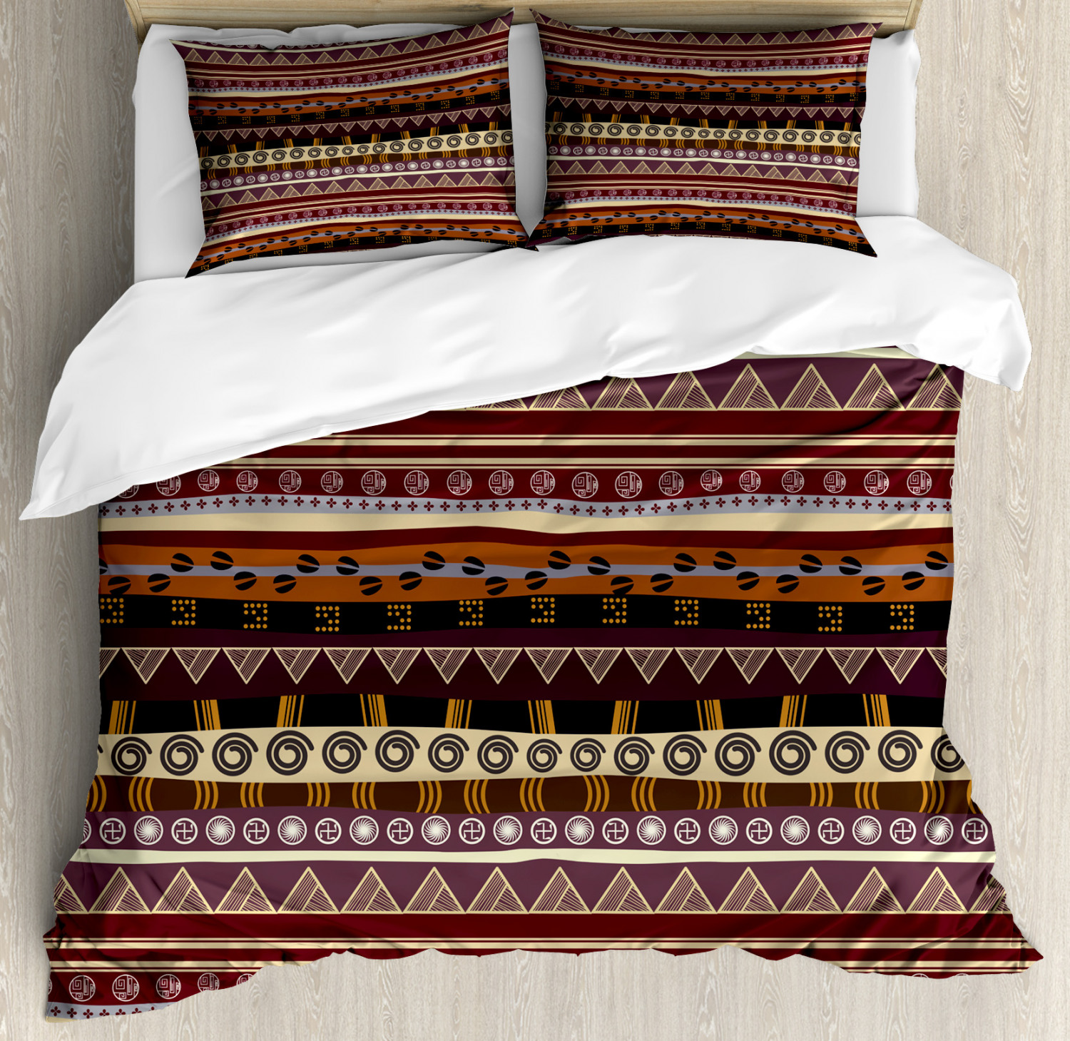 African Duvet Cover Set with Pillow Shams Ethnic Striped Artwork Print