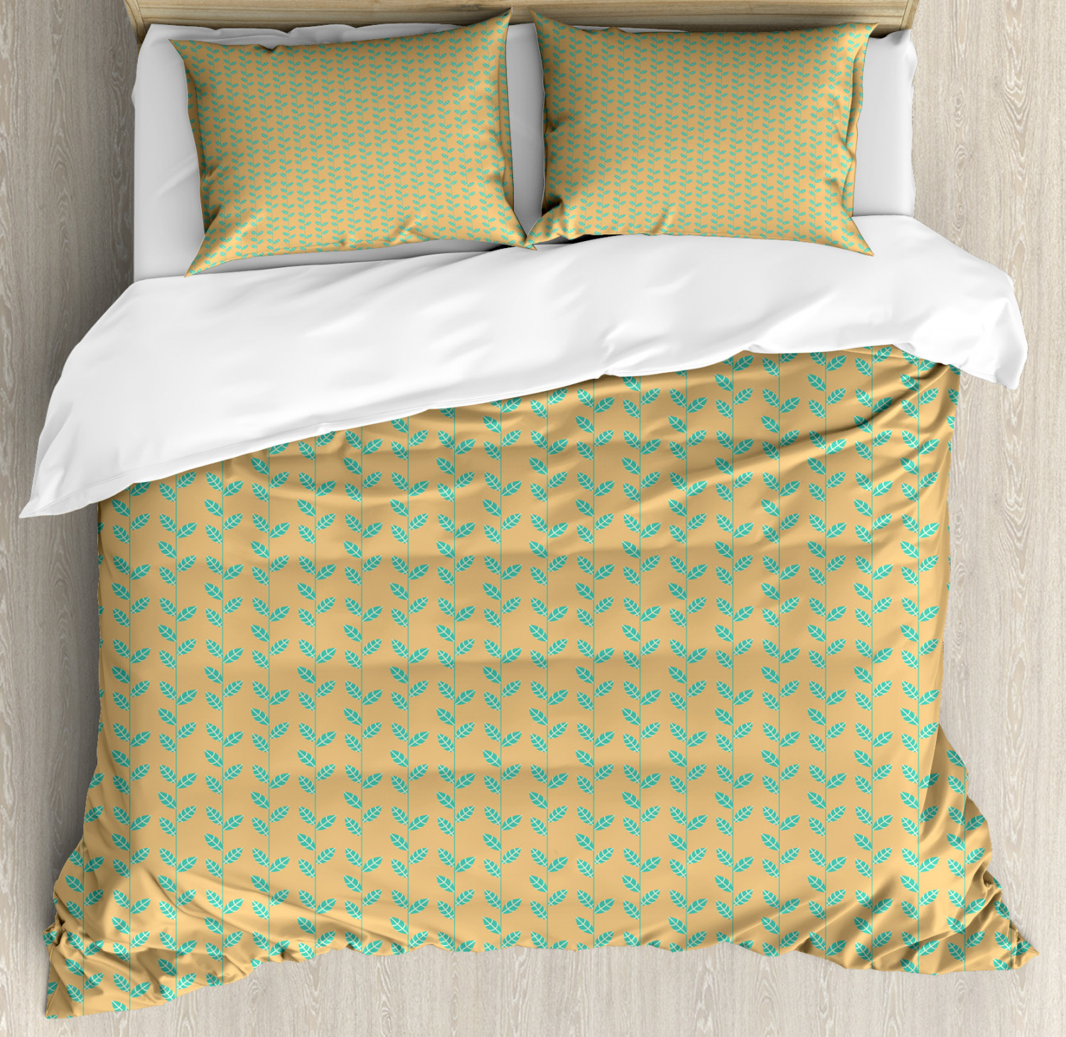 Nature Duvet Cover Set with Pillow Shams Lines with Spring Leaves Print