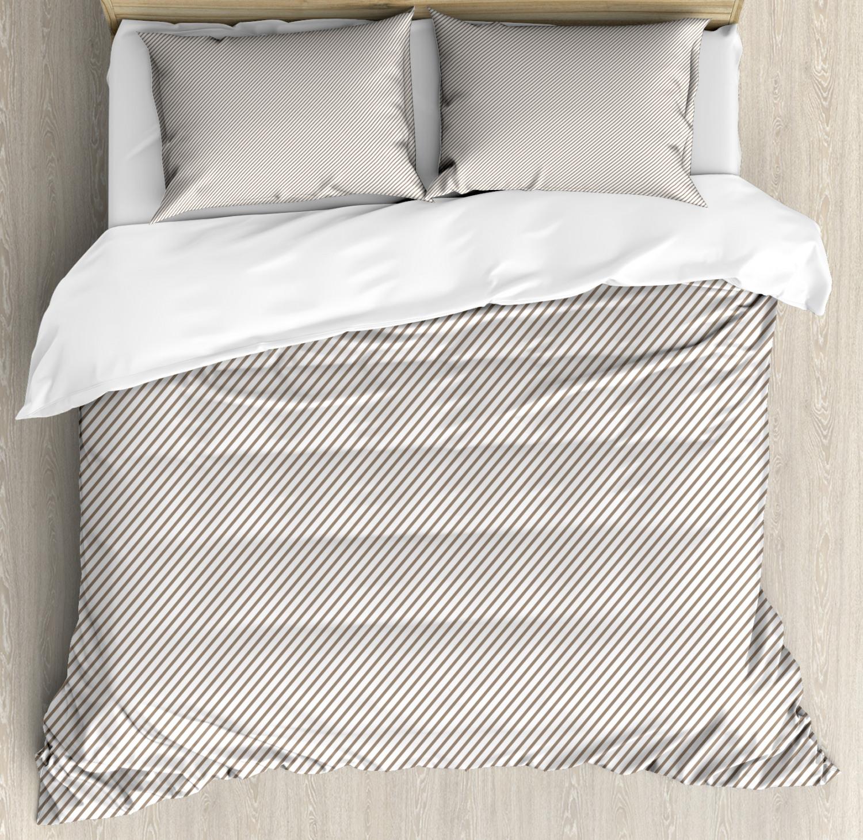 Retro Duvet Cover Set with Pillow Shams Narrow Stripes Geometric Print