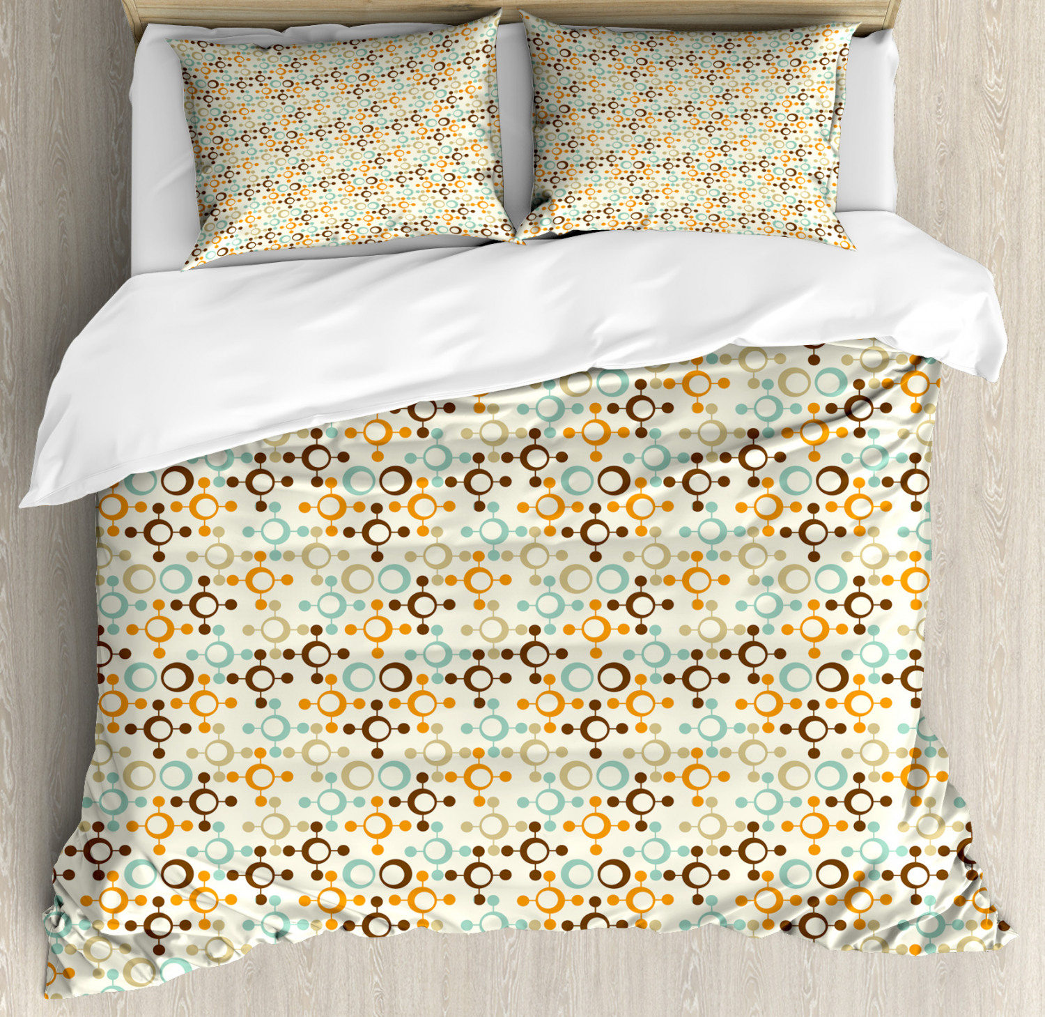 Abstract Duvet Cover Set with Pillow Shams Funky Molecule Like Print