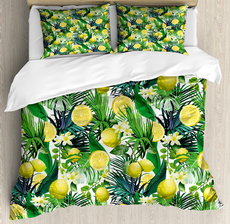 Jungle Duvet Cover Set with Pillow Shams Exotic Plants verde Leaf Print