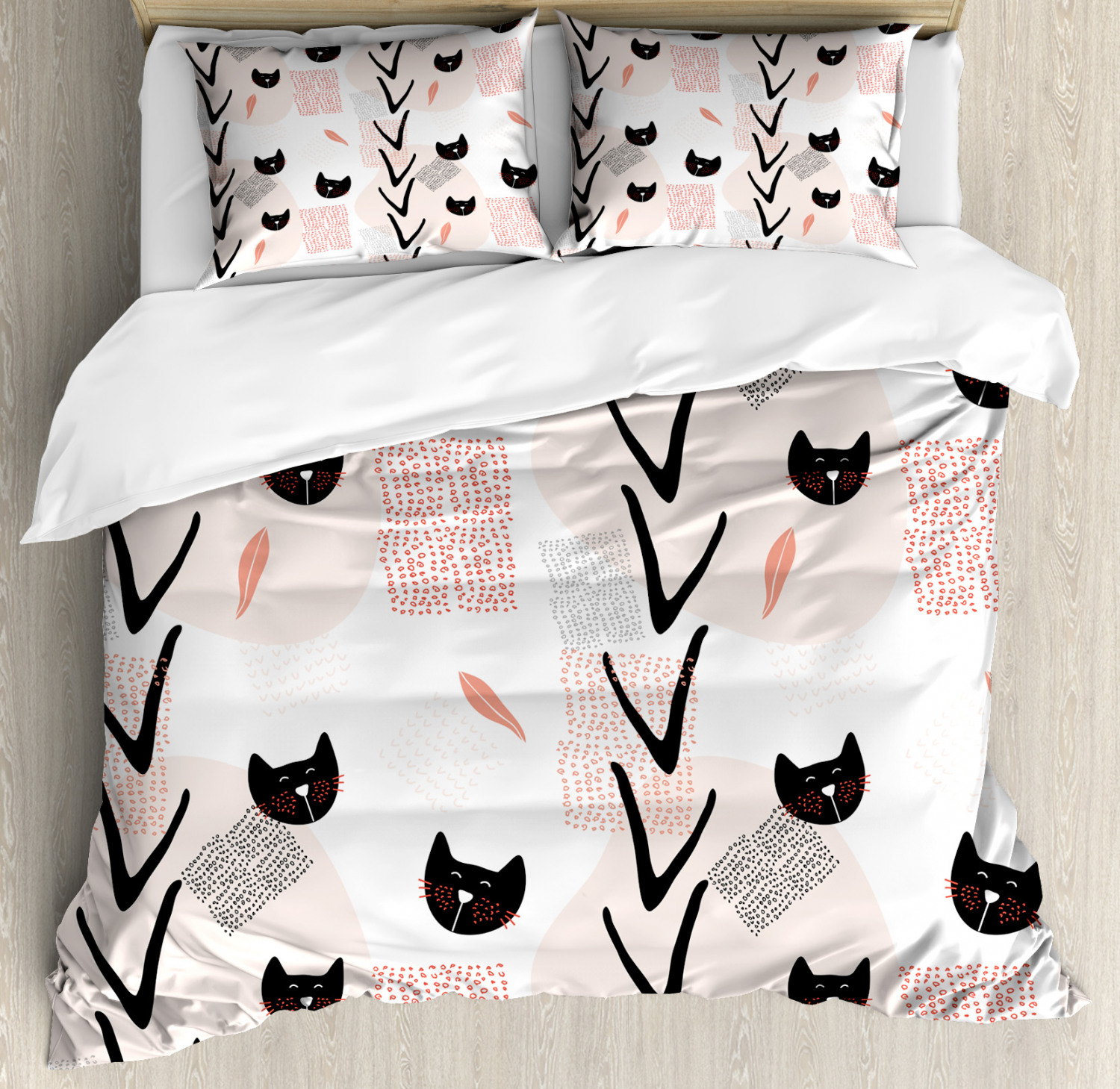 Kitten Duvet Cover Set with Pillow Shams Cute Cat Faces Dotted Print