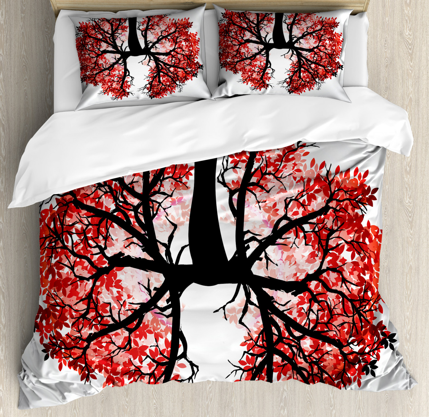 Tree Duvet Cover Set with Pillow Shams Human Lung Floral Healthy Print