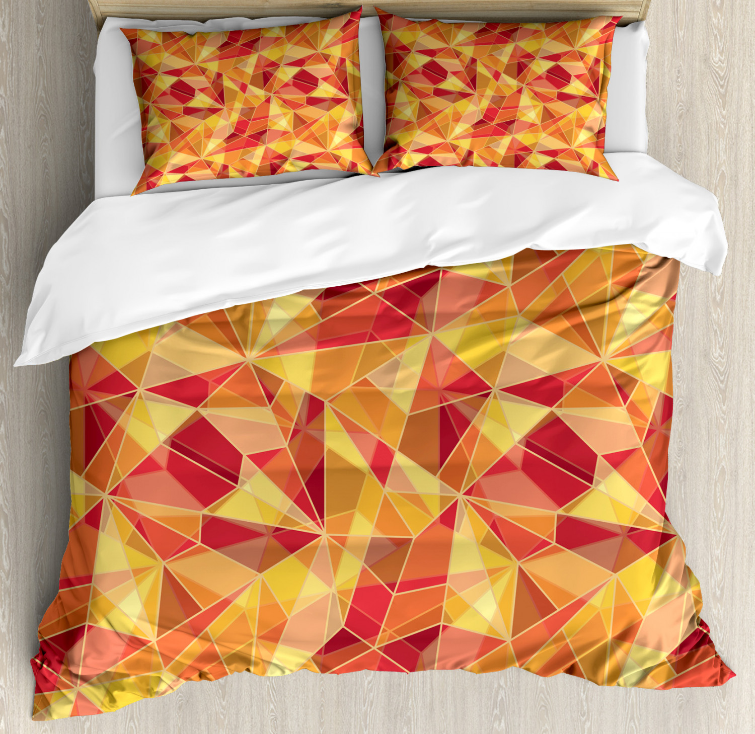 Geometric Duvet Cover Set with Pillow Shams Mosaic Digital Style Print