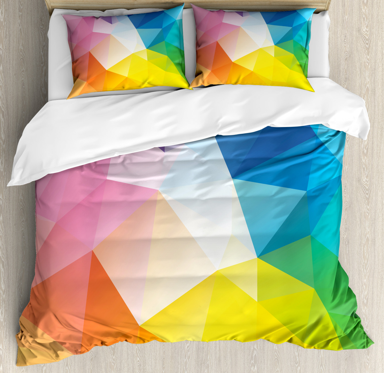 Rainbow Duvet Cover Set with Pillow Shams Fractal colord Lines Print