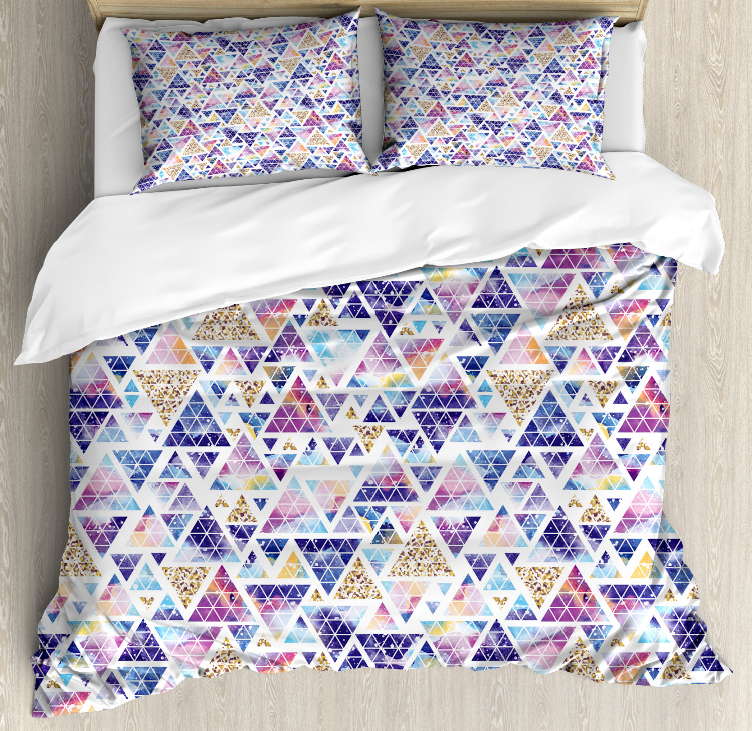 Geometric Duvet Cover Set with Pillow Shams Triangular Space Art Print