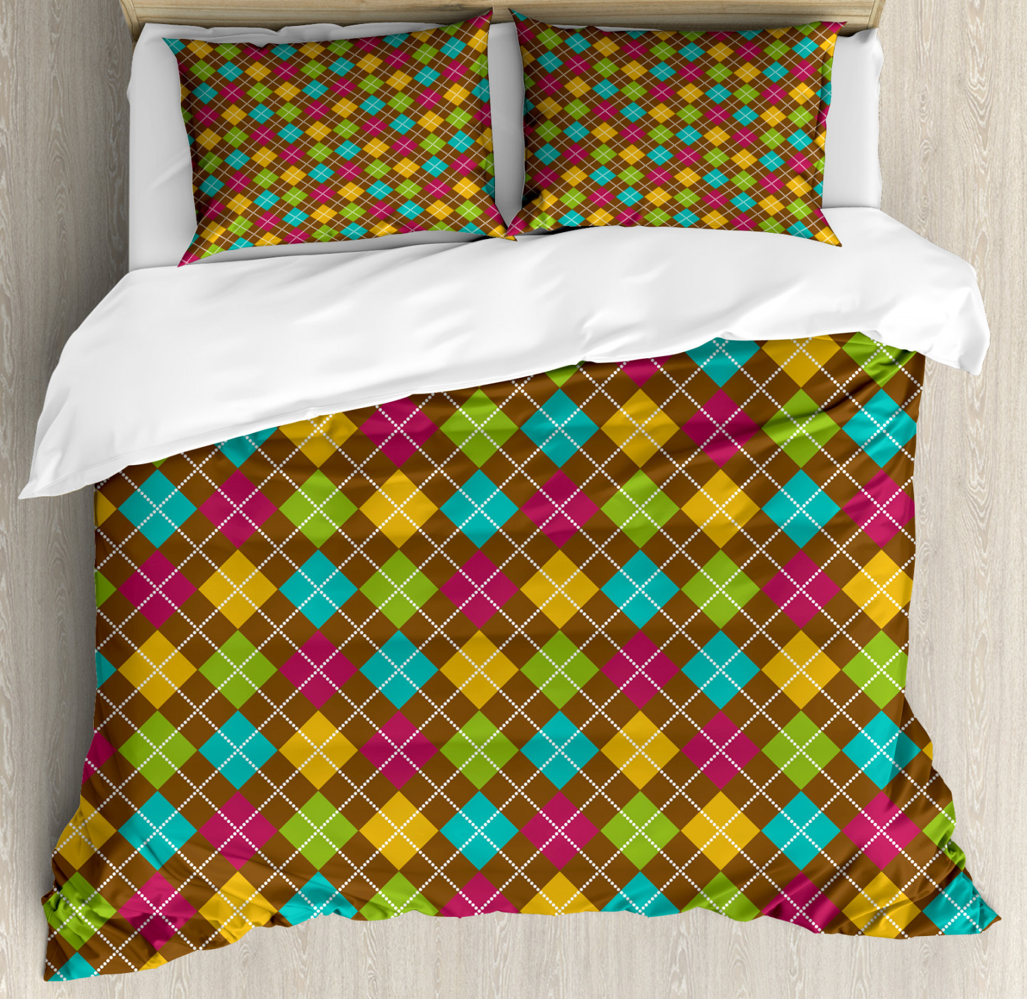 Geometric Duvet Cover Set with Pillow Shams Bold Argyle Pattern Print