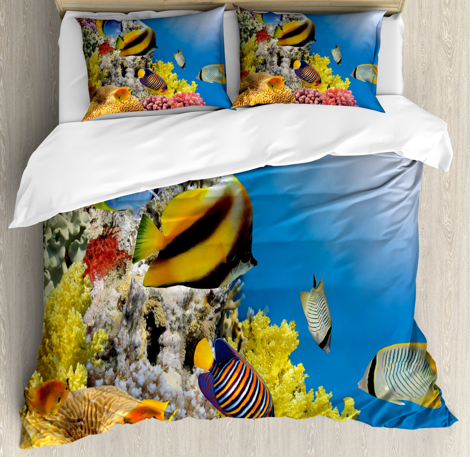 Ocean Duvet Cover Set with Pillow Shams Coral Colony on Reef Top Print
