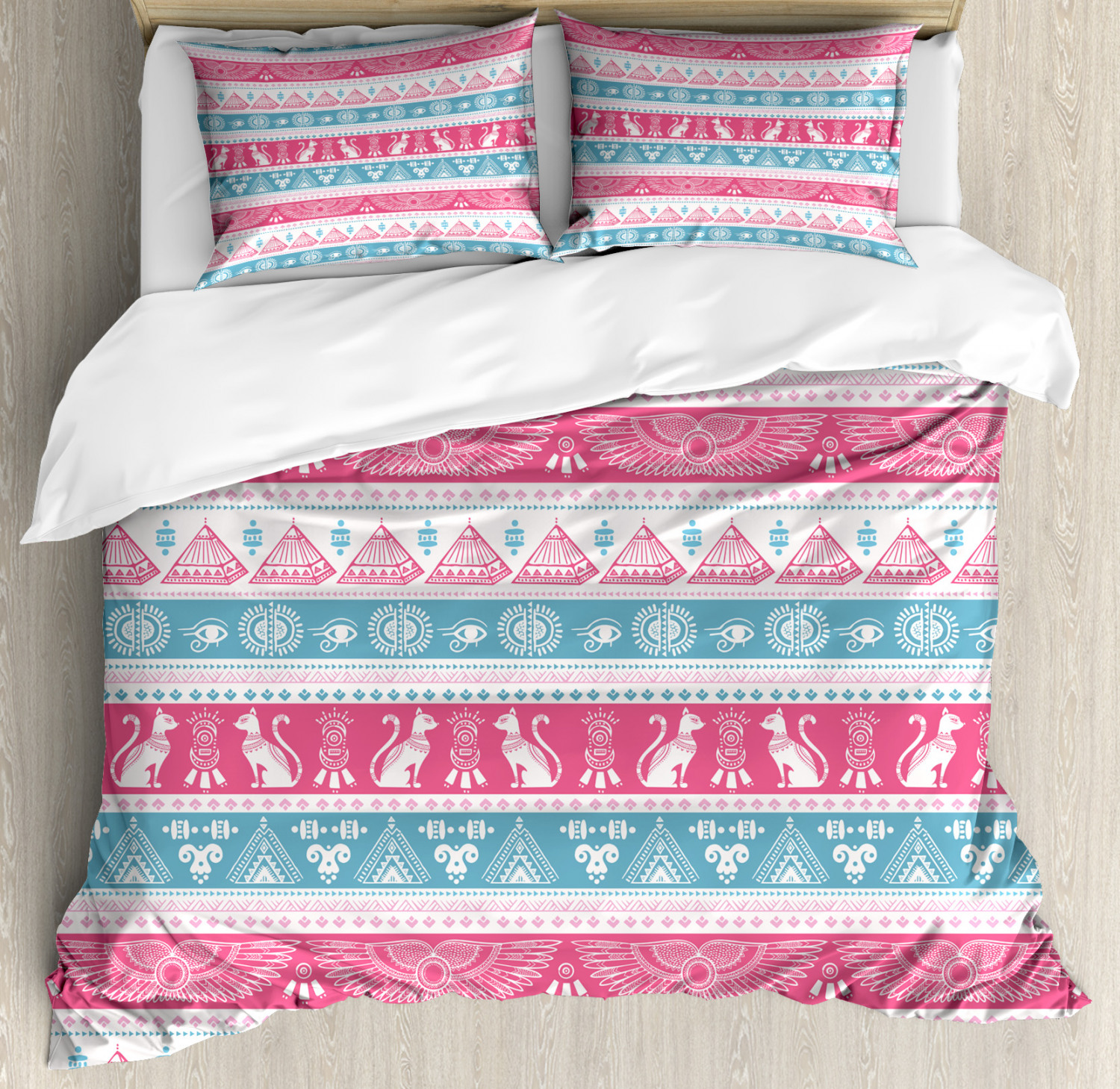 Tribal Duvet Cover Set with Pillow Shams Ancient Egyptian Icons Print