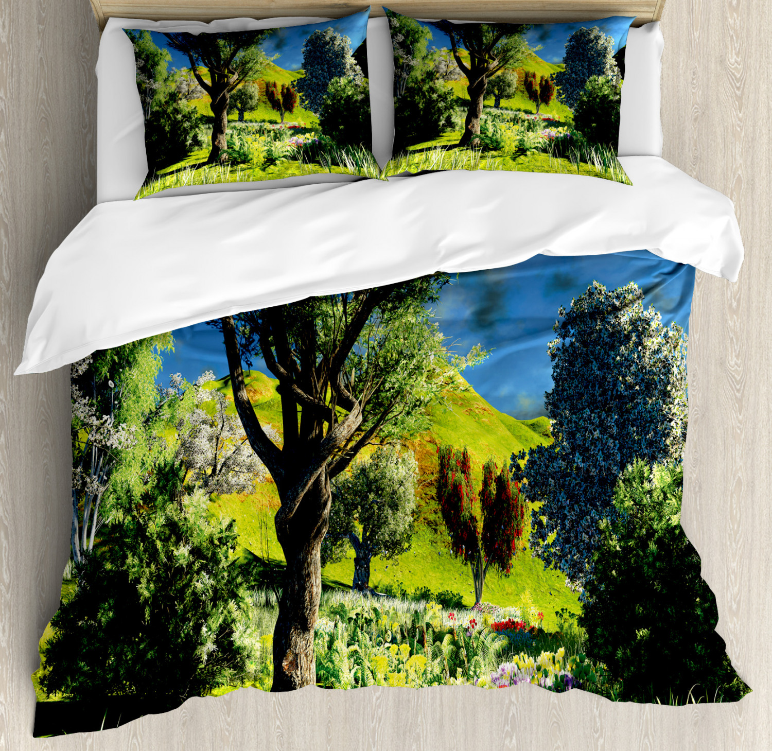 Nature Duvet Cover Set with Pillow Shams Wilderness Rural Scenery Print