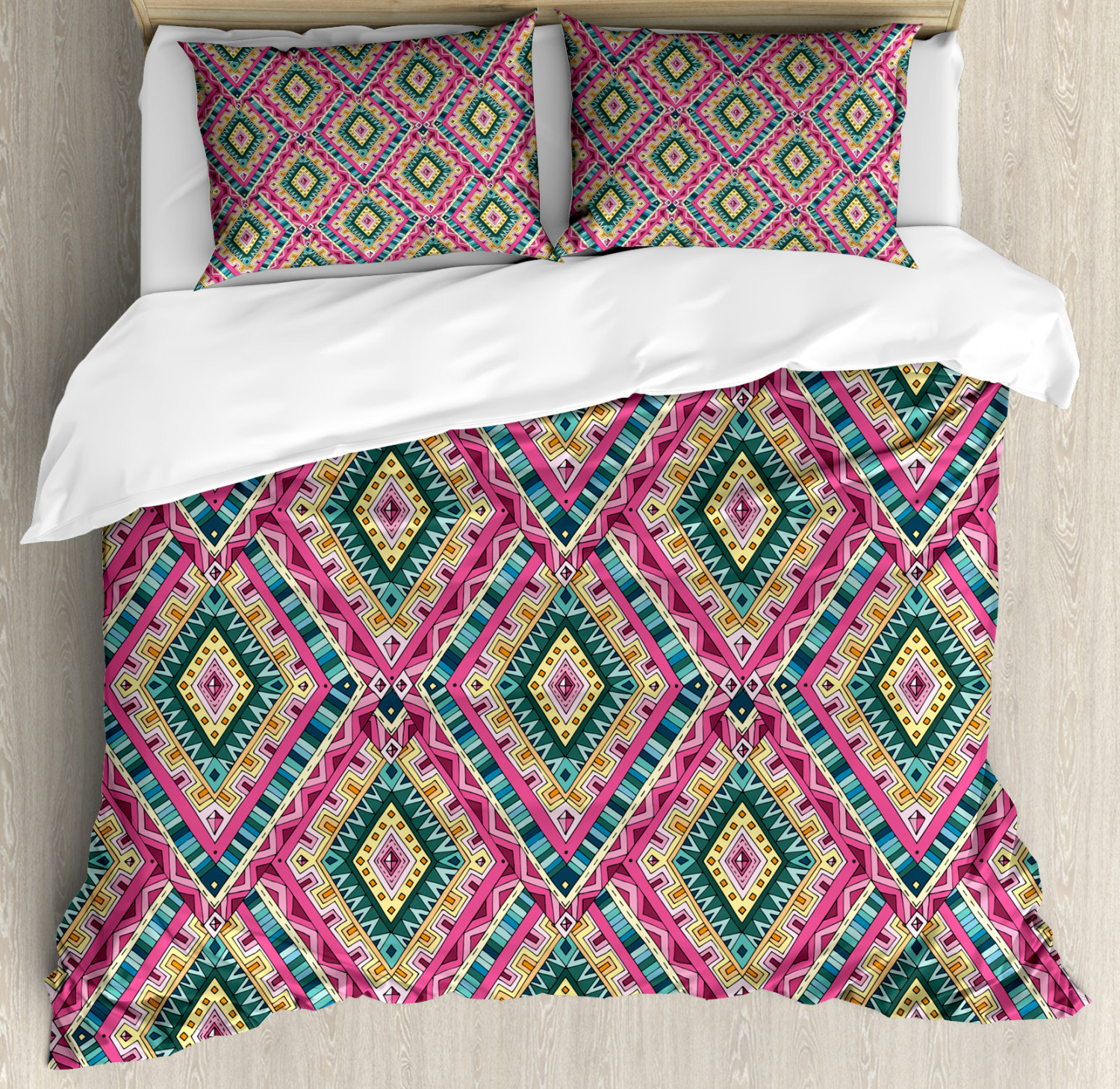 Asian Duvet Cover Set with Pillow Shams Ethnic Geometric Doodle Print